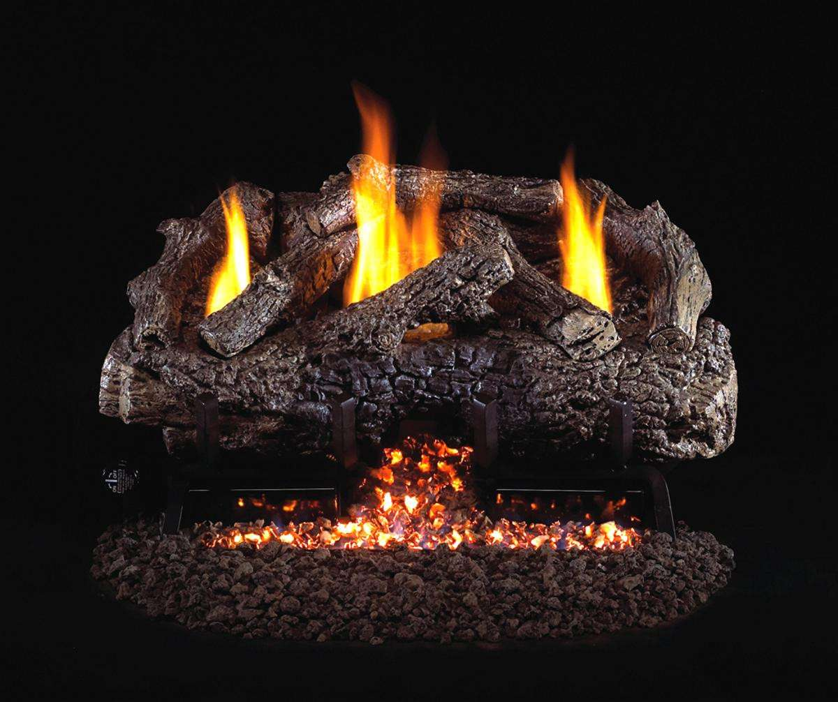 "R.H. Peterson CHFR-30 Standard 30"" Ventless Charred Frontier Oak. Logs Only (does not include burner). For use with compatible R. H. Peterson vent-free gas log burner system in approved vent free fireplaces only!"