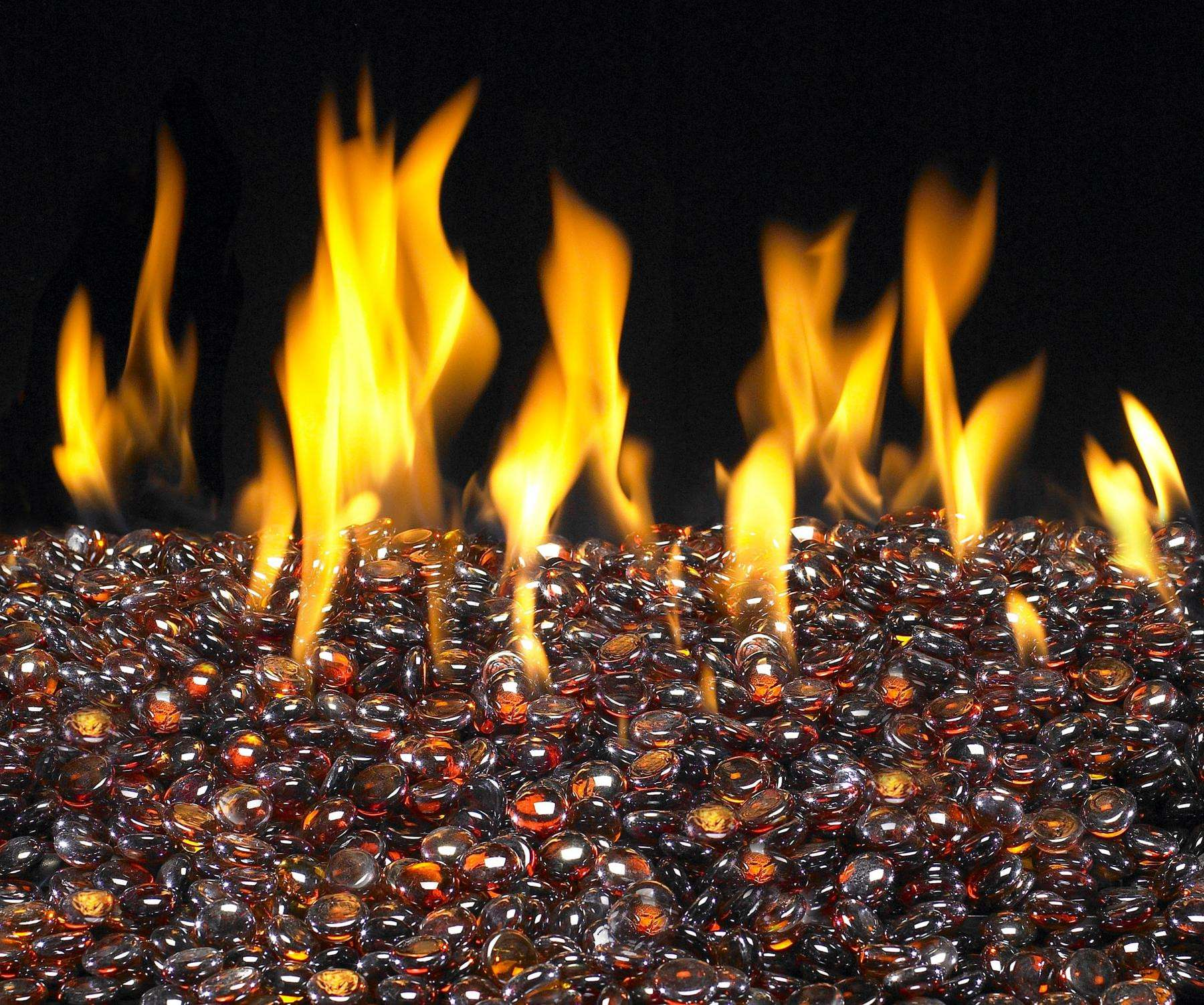 Deep Amber Fireplace Glass Gems - 7.5lb bag