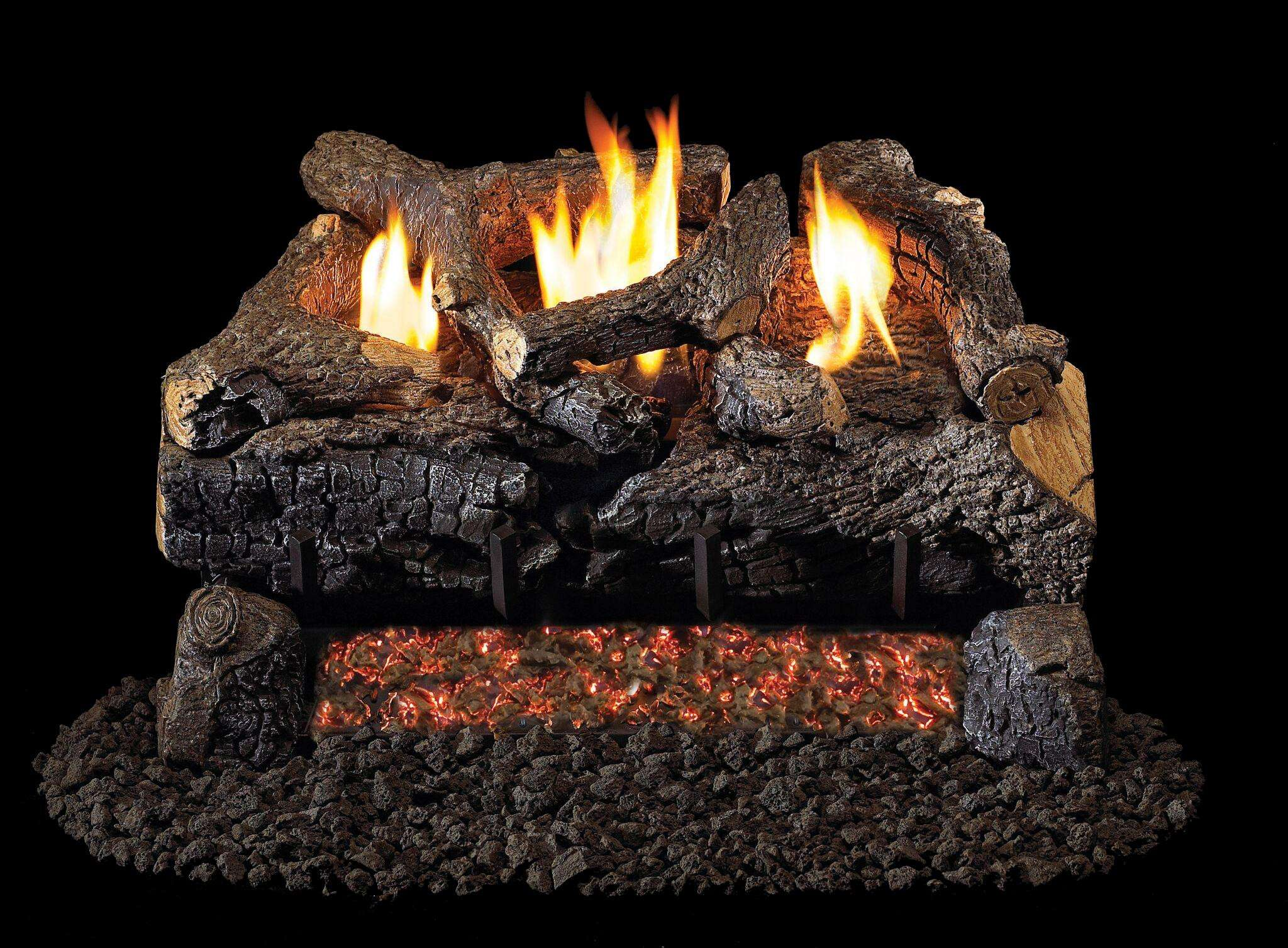 "R.H. Peterson ECV-18 Standard 18"" Ventless Evening Fyre Charred. Logs Only (does not include burner). For use with compatible R. H. Peterson vent-free gas log burner system in approved vent free fireplaces only!"
