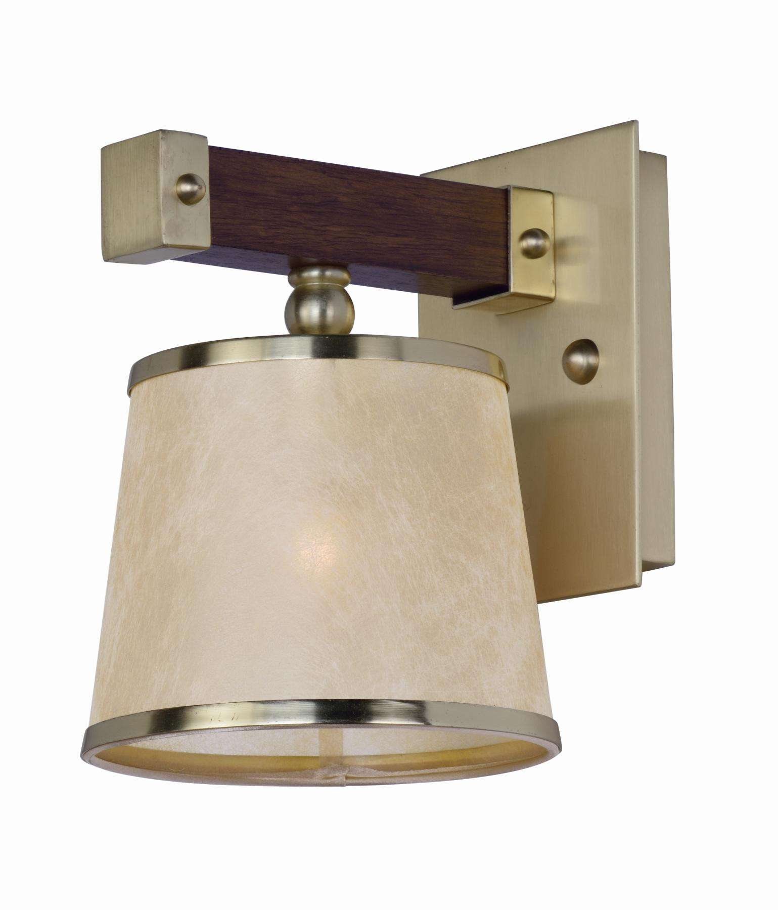 Maritime 1-Light Wall Sconce in Antique Pecan and Satin Brass