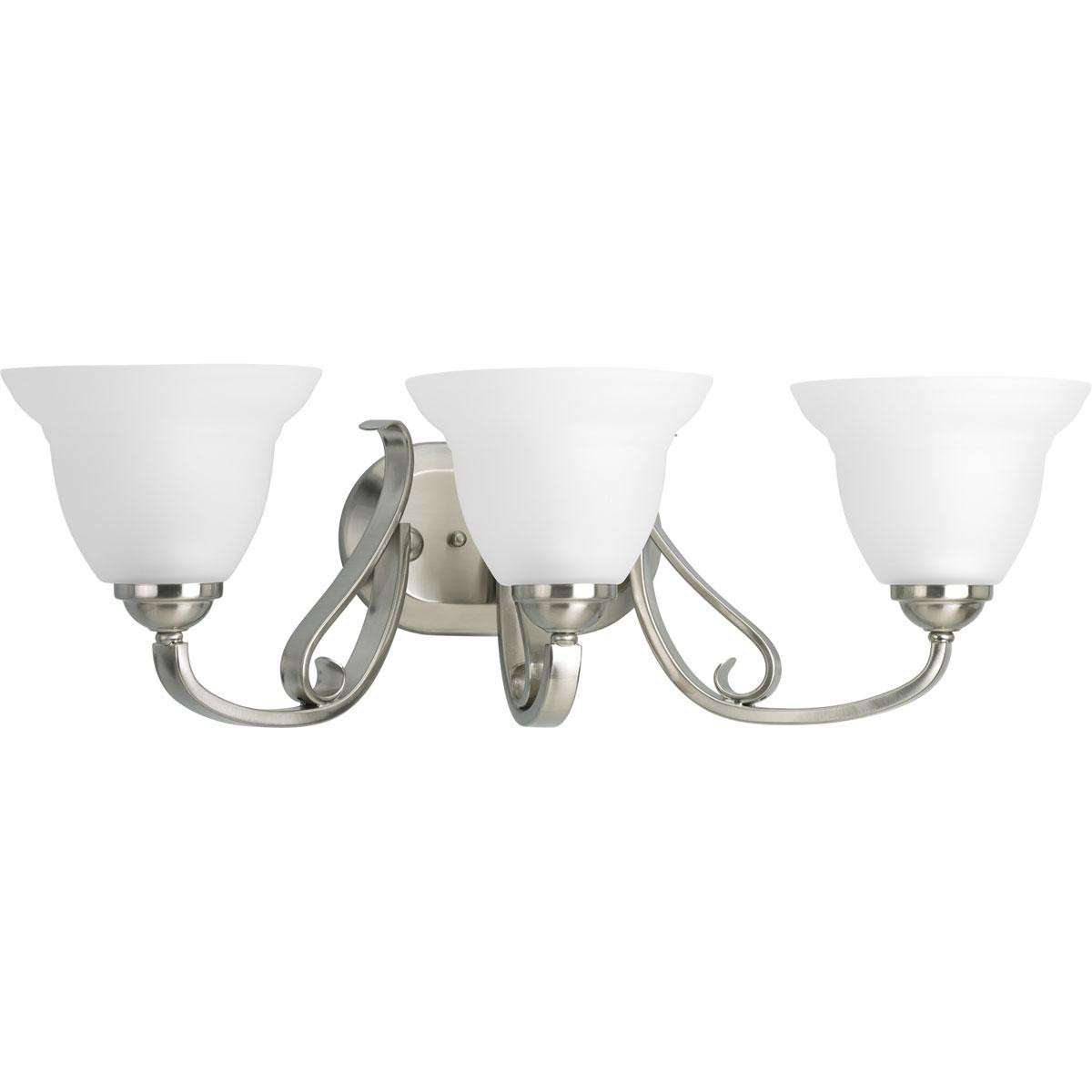 Progress P2883-09 Three-light bath bracket in Brushed Nickel finish with etched white glass.