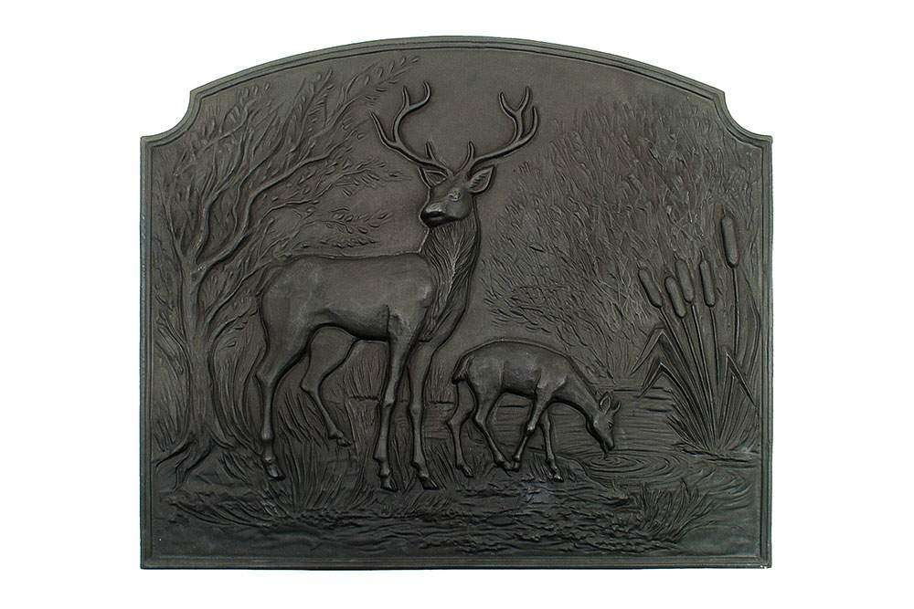 Deer Fireback - Cast Iron - Black