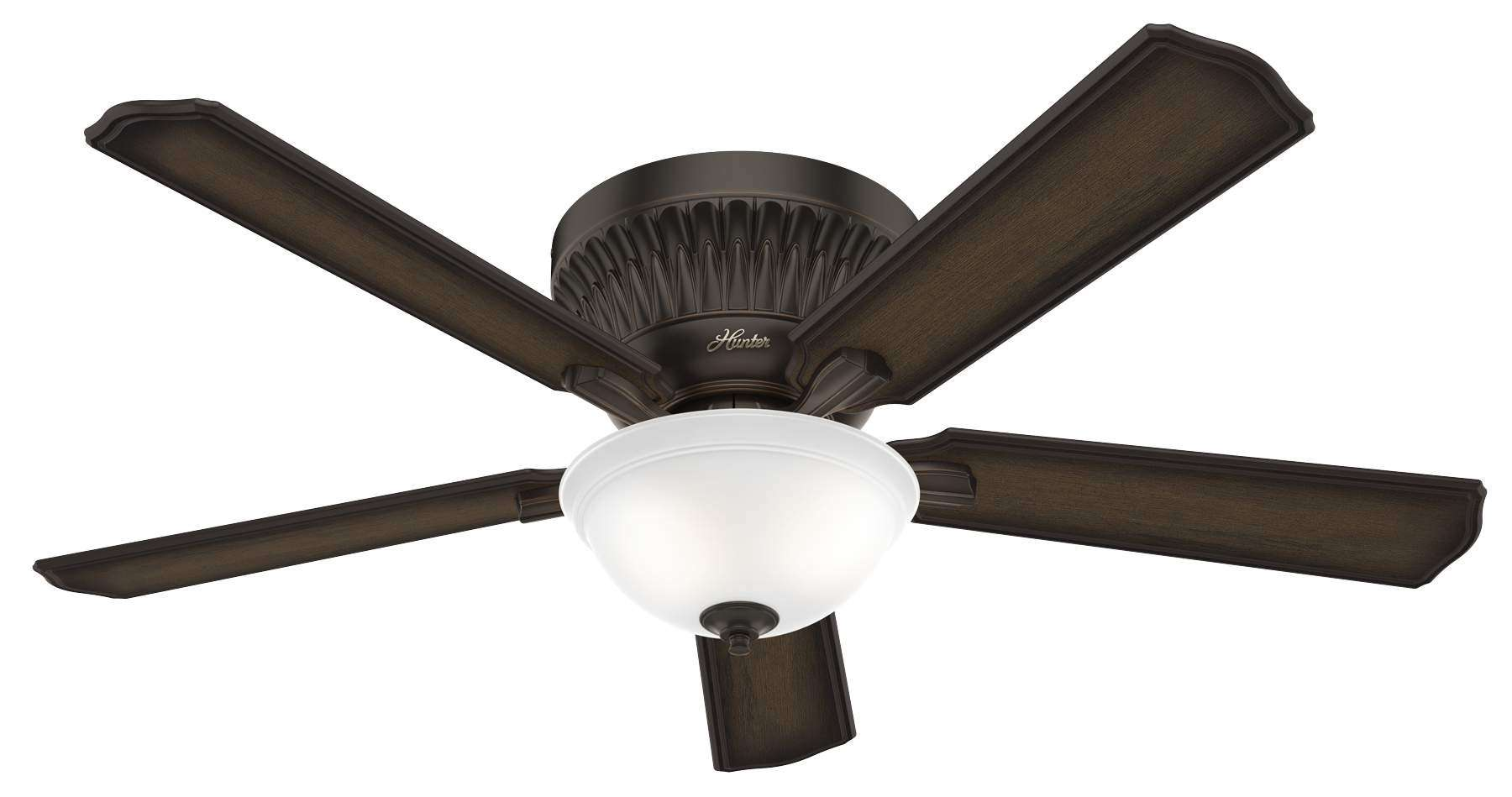 Hunter Chauncey Ceiling Fan Model 59548 - Shown with Burnished Aged Maple Blades and Light