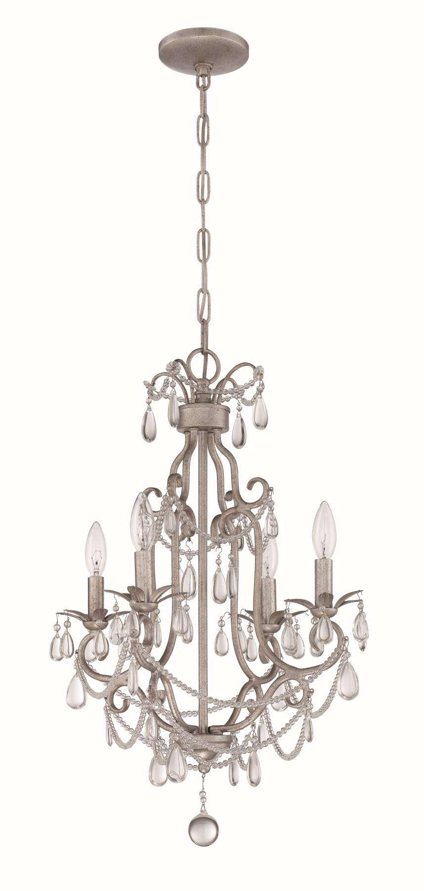 4 Light Mini Chandelier in Antique Silver
