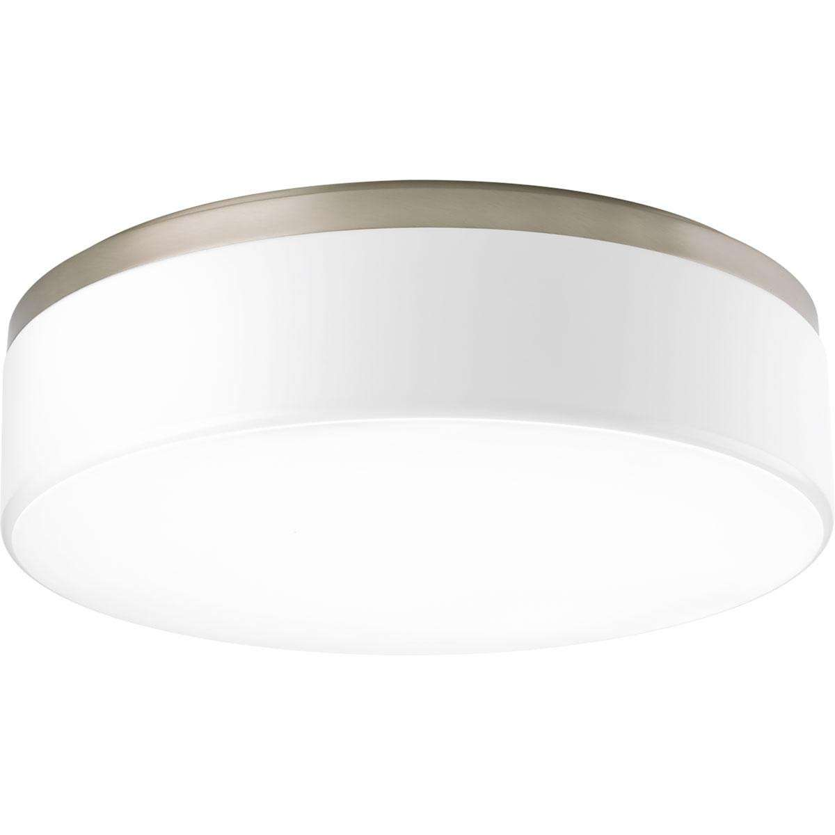 "Maier Brushed Nickel 3-Lt. LED Flush Mount w/AC LED Module (18"") White acrylic diffuser"