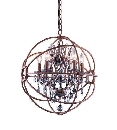 "1130 Geneva Collection Pendent lamp D:20"" H:23"" Lt:5 Rustic Intent Finish (Royal Cut Silver Shade Crystals)"