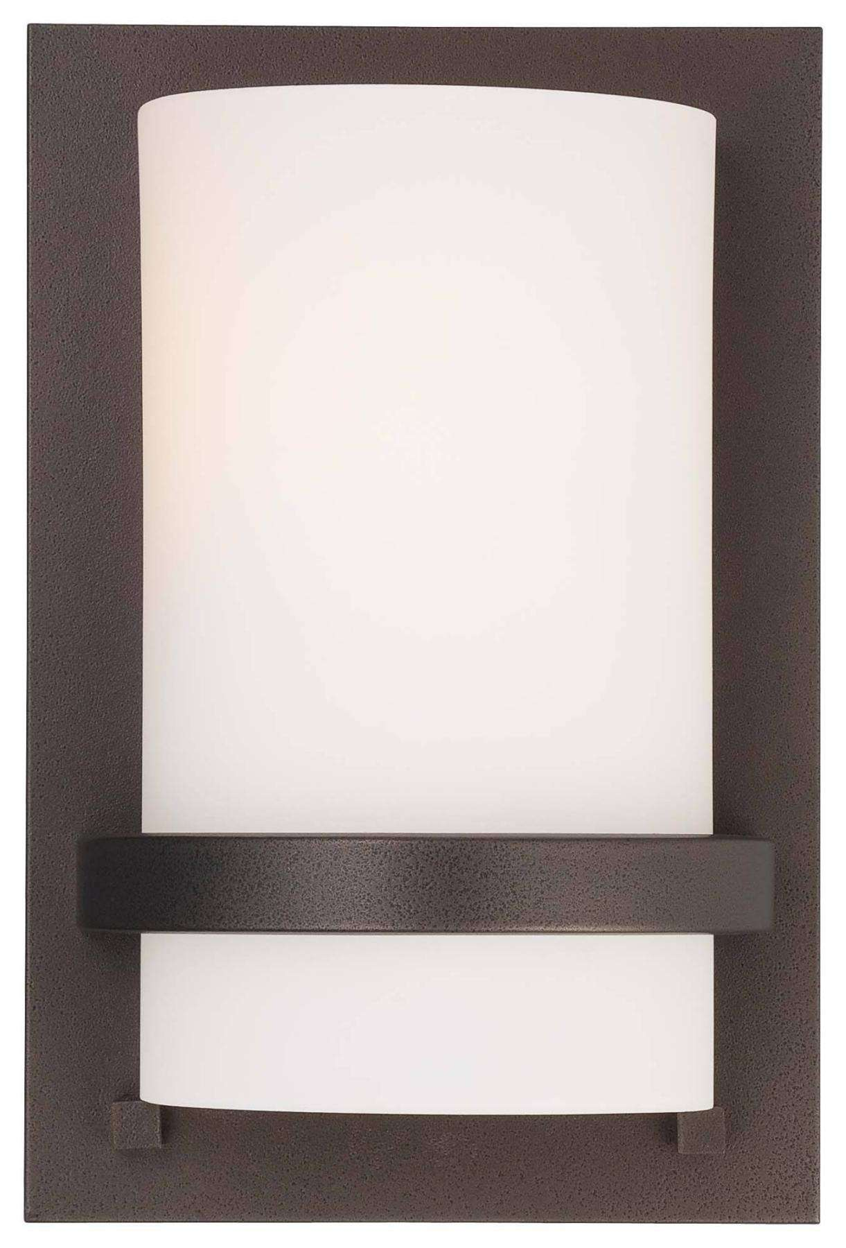 Minka Lavery 1 Light Wall Sconce In Smoked Iron Finish W/Etched Opal Glass