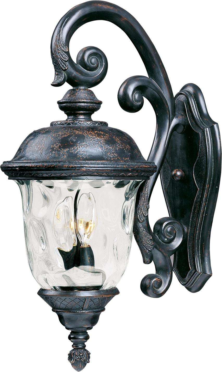 Maxim 40497WGOB Carriage House VX 3-Light Outdoor Wall Lantern in Oriental Bronze with Water Glass glass.