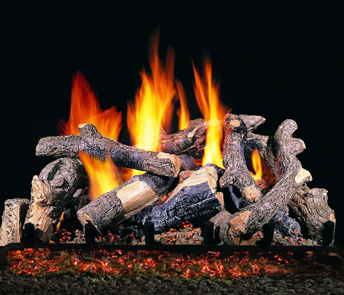 "R.H. Peterson CHDS-30 Standard 30"" Charred Oak Stack. Logs Only (does not include burner). For use in wood burning fireplaces with a compatible vented gas log burner only."
