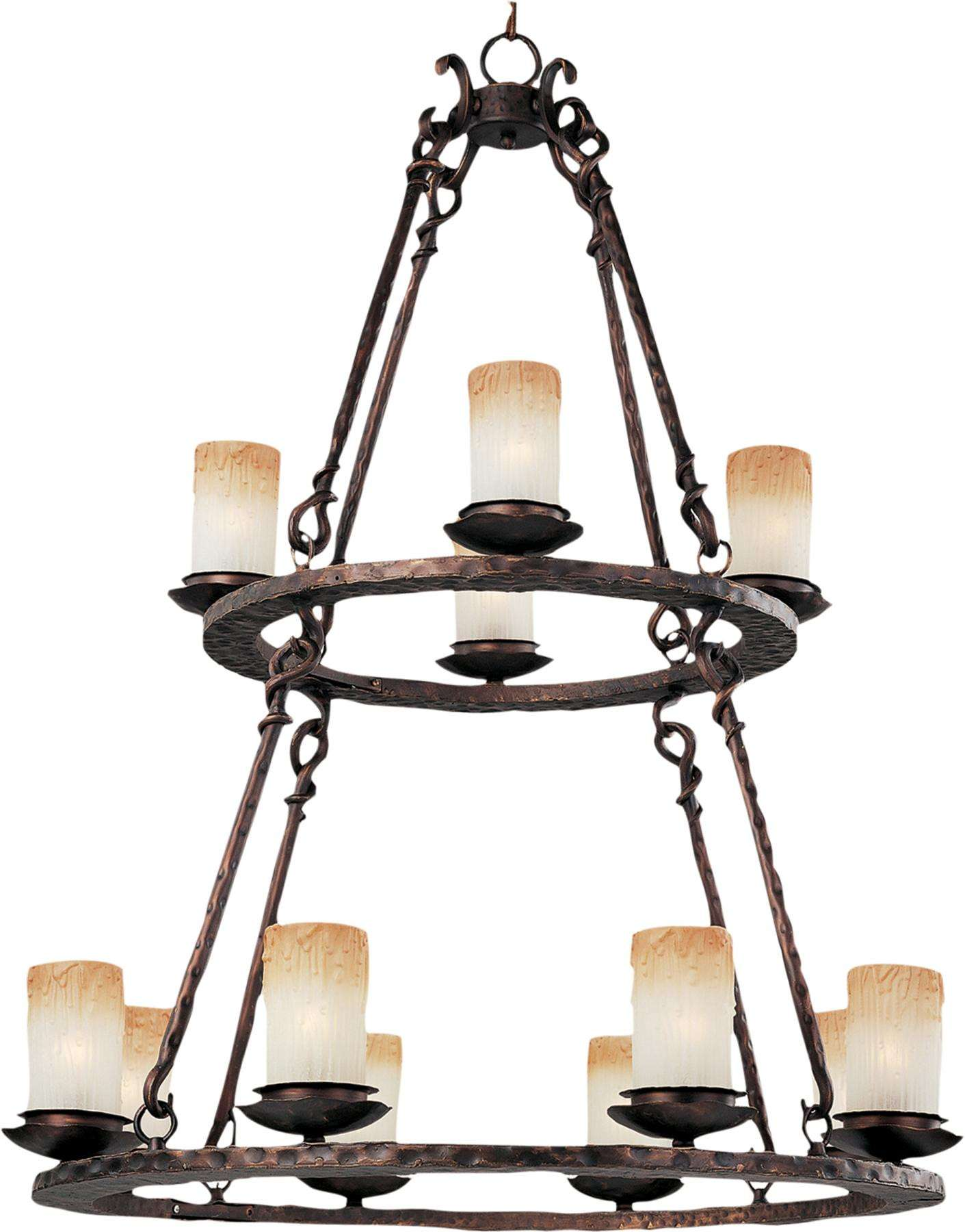 Maxim 10977WSOI Notre Dame 12-Light Chandelier in Oil Rubbed Bronze with Wilshire glass.
