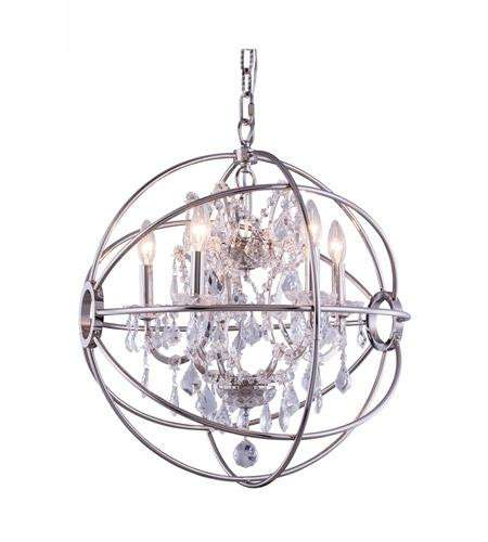 "1130 Geneva Collection Pendent lamp D:20"" H:23"" Lt:5 Polished nickel Finish (Royal Cut  Crystals)"
