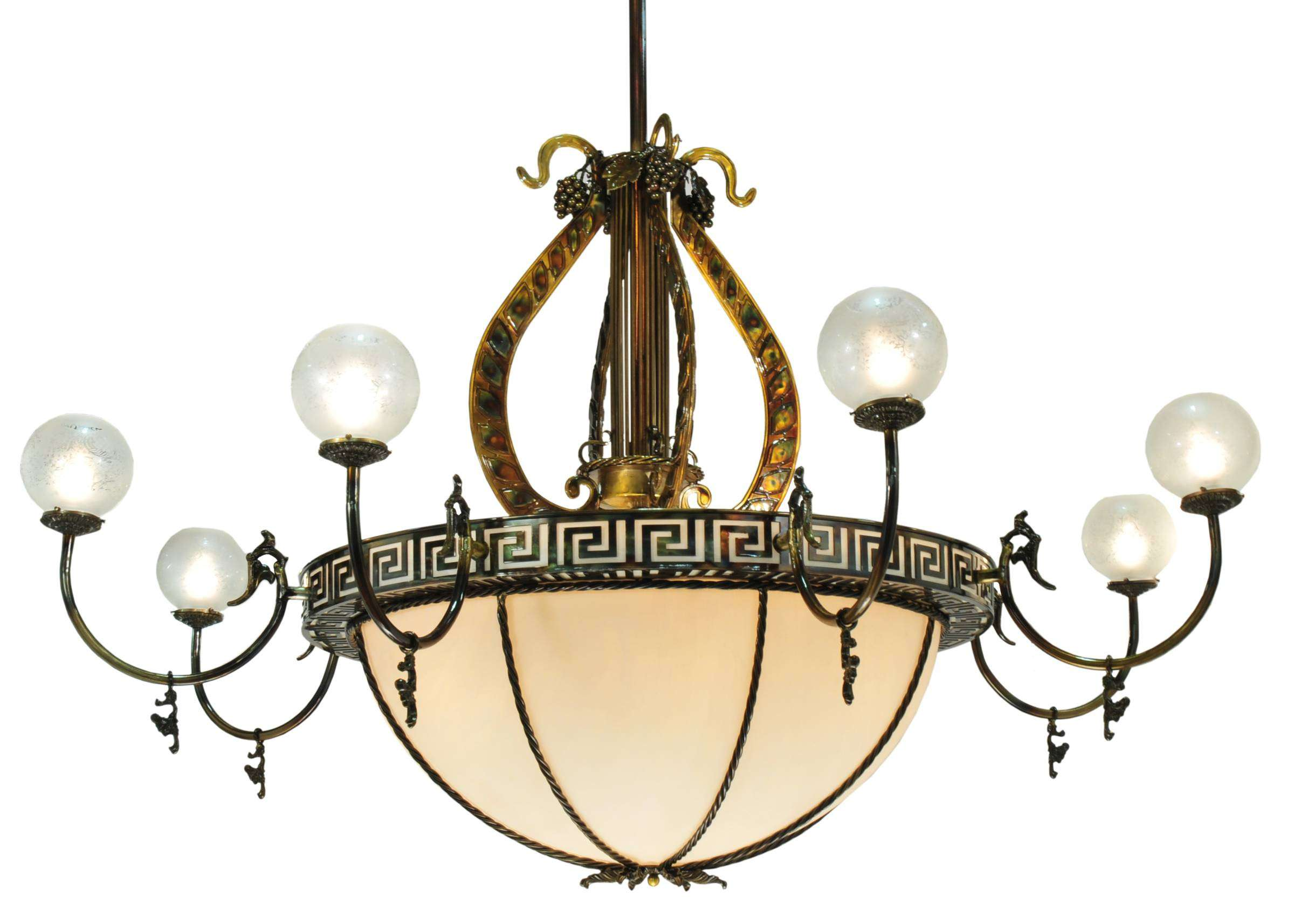 Meyda Tiffany 106965 Lyre 8 Arm Chandelier in Brass finish with Faux Alabaster