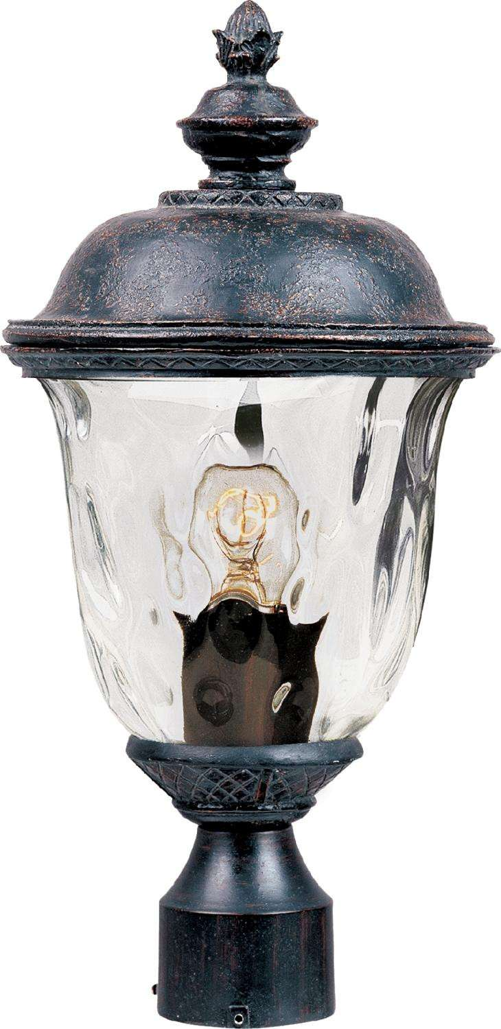 Maxim 40426WGOB Carriage House VX 1-Light Outdoor Pole/Post Lan in Oriental Bronze with Water Glass glass.