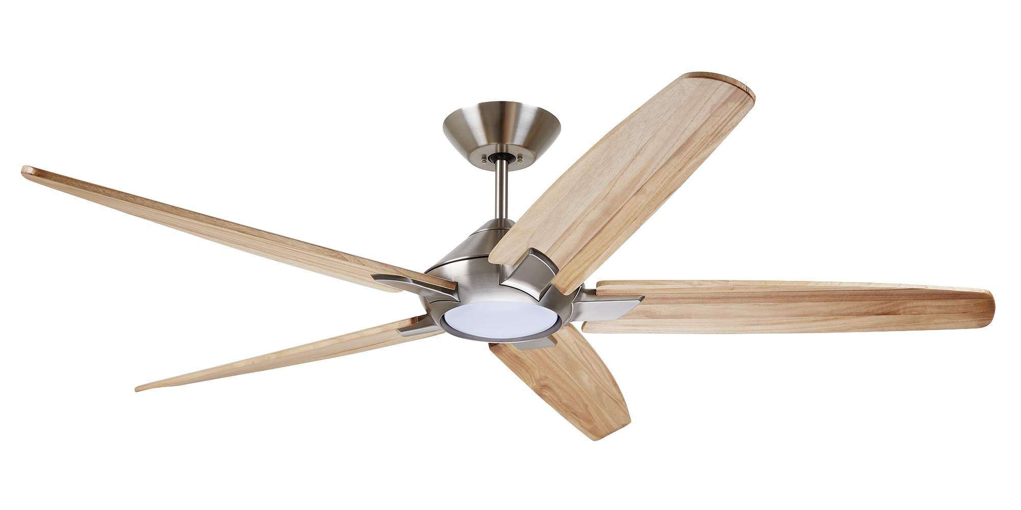 Emerson CF515NA60BS 60 Inch Dorian Eco Ceiling Fan in Brushed Steel with Curved Solid Wood Natural Finished Blades