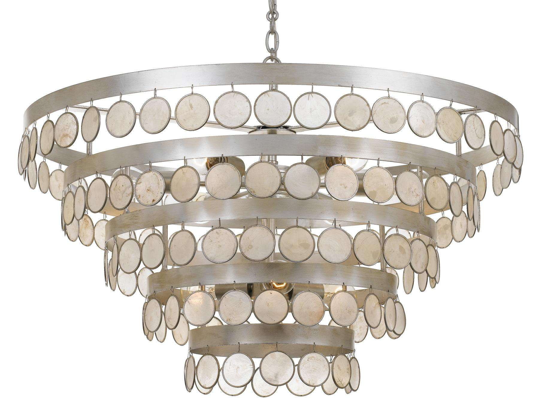 Crystorama Coco 9 Light Antique Silver Chandelier