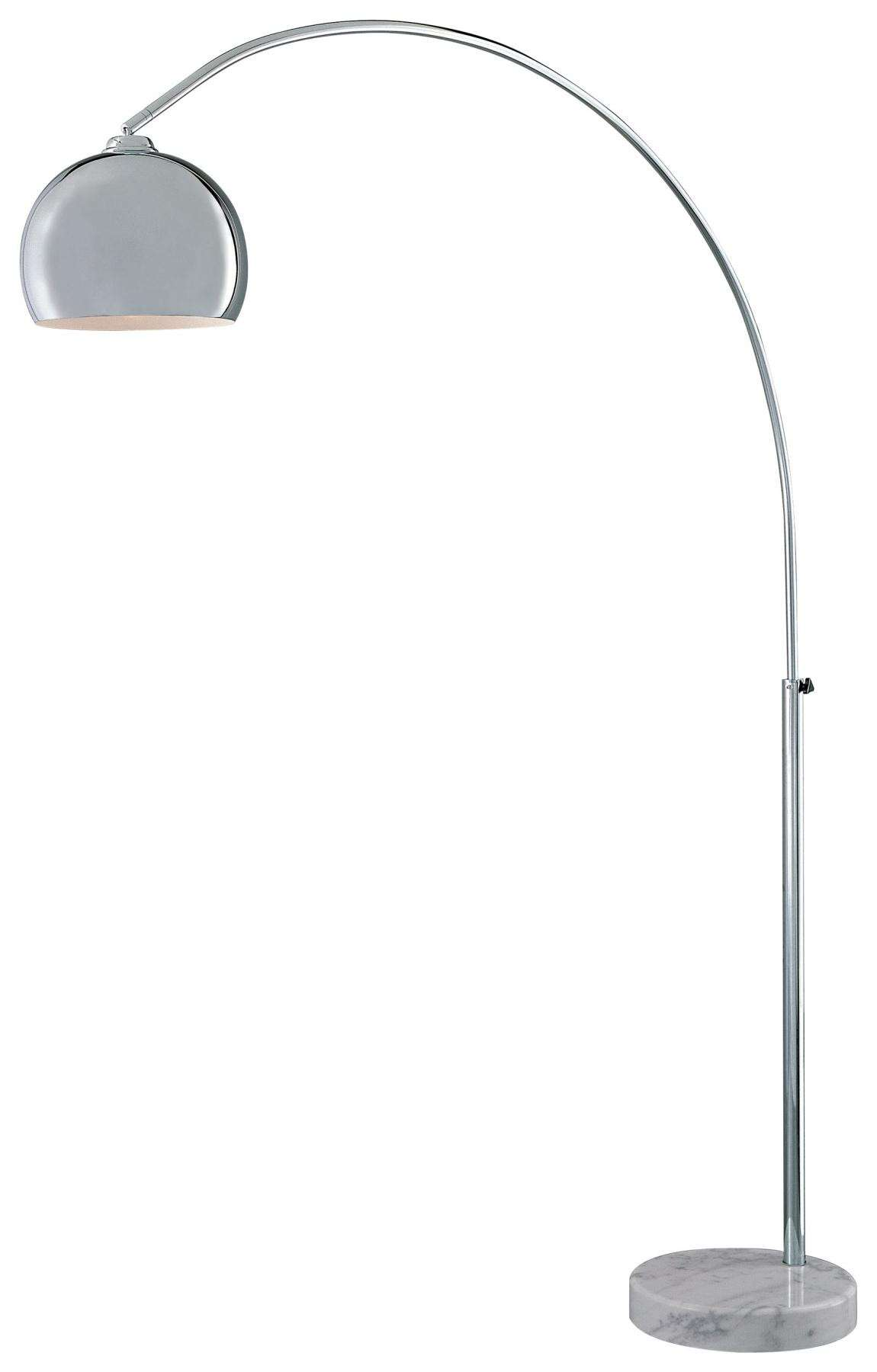 George Kovacs P053-077 Arc Floor Lamp in Chrome withWhite Marble Base finish with Metal