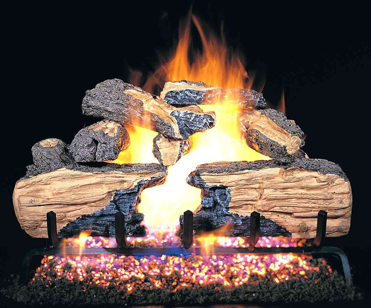 "R.H. Peterson CHS-36 Standard 36"" Charred Split. Logs Only (does not include burner). For use in wood burning fireplaces with a compatible vented gas log burner only."