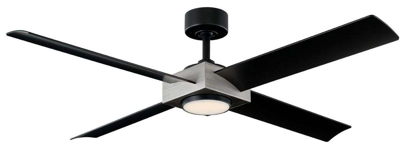 MD-FR-W1922-56L-AV/MB - Modern Forms Paradox 56 Inch Ceiling Fan in Matte Black with Antique Silver and Matte Black ABS All Weather Blades