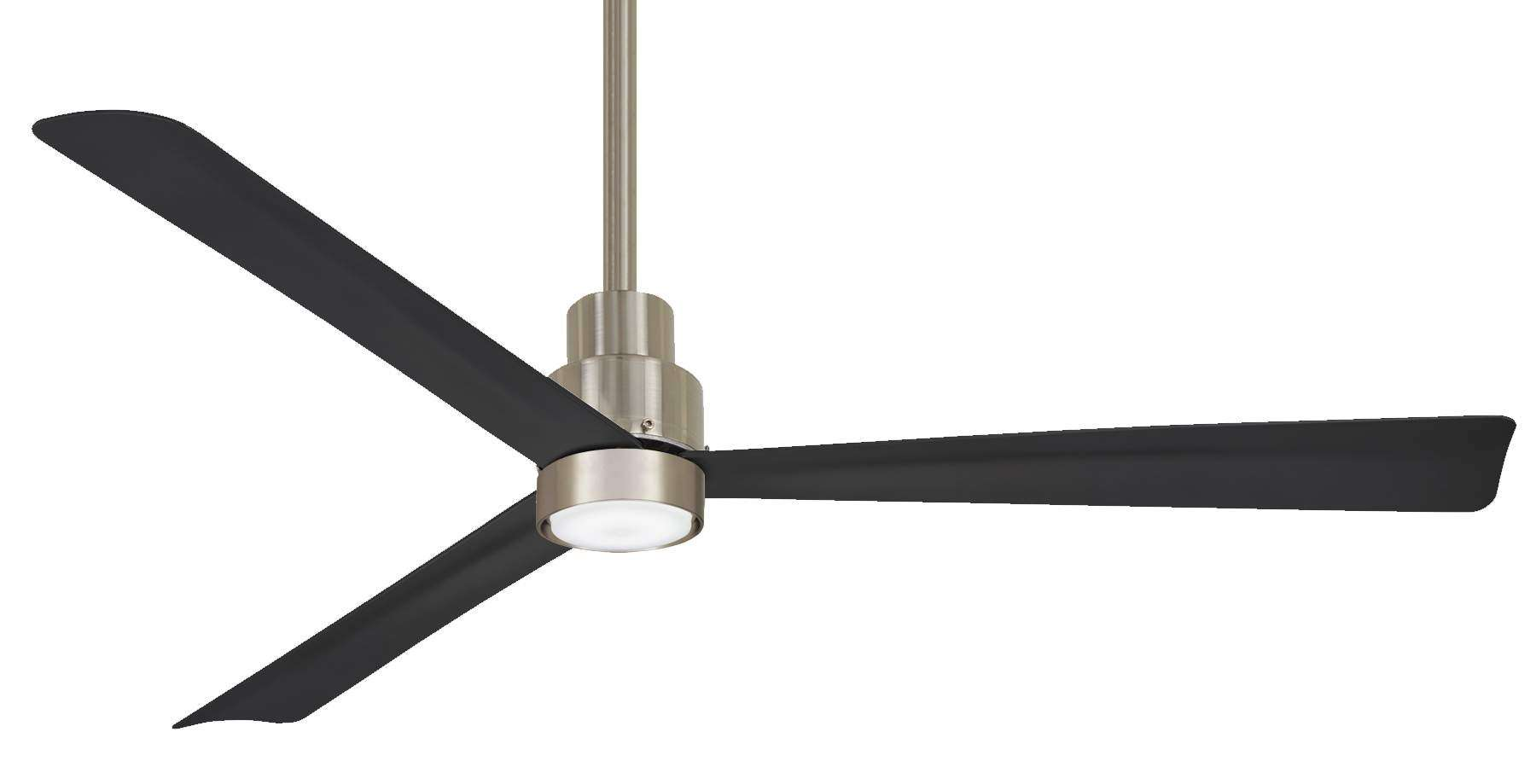"Simple 52"" Ceiling Fan Outdoor In Brushed Nickel Wet with FB287-CL Charcoal Black Blades and K9787L-BNW LED Light Kit"