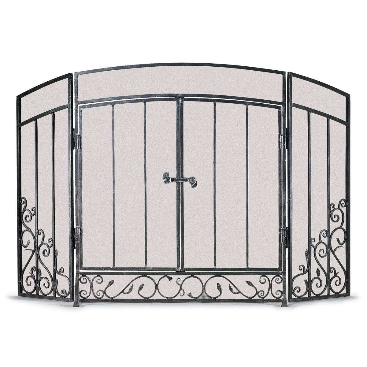 Napa Renaissance 3 Panel Screen With Doors - Brushed Pewter