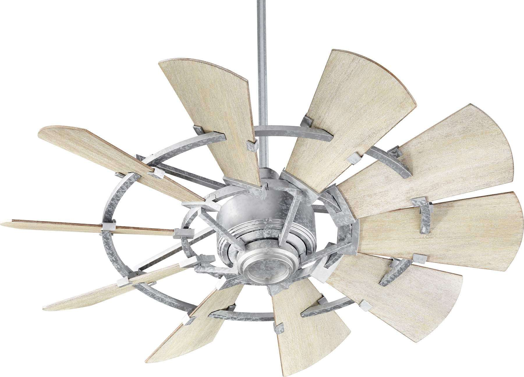 "44"" Quorum Windmill Ceiling Fan Indoor Rated Model 94410-9 in Galvanized"