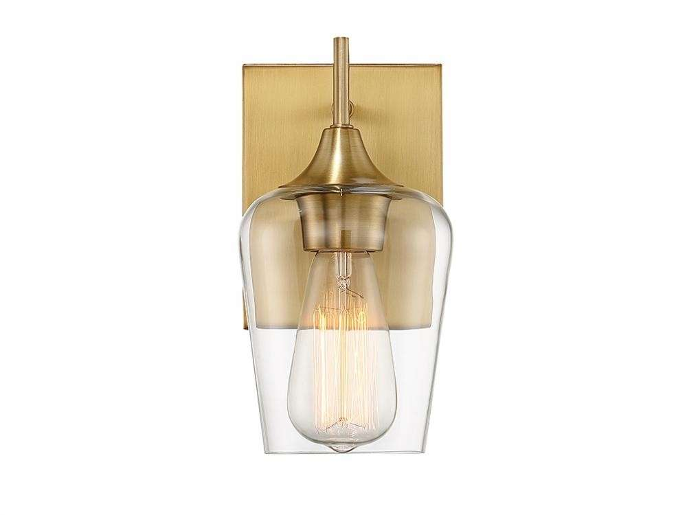 Octave 1 Light Wall Sconce In Warm Brass