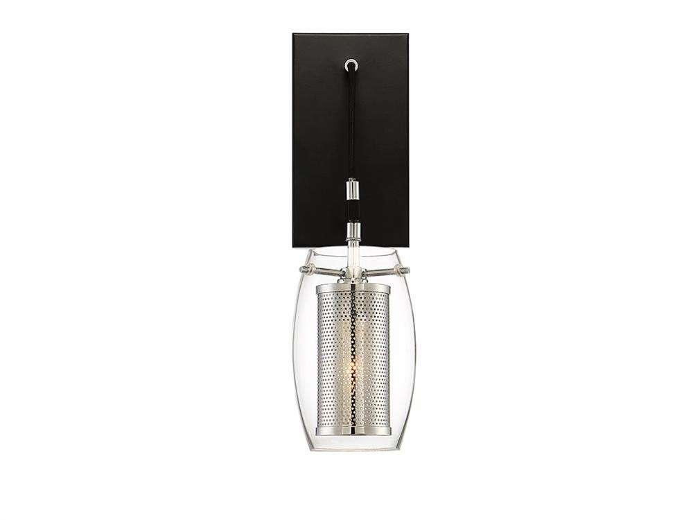 Dunbar 1 Light Wall Sconce In Matte Black with Polished Chrome Accents