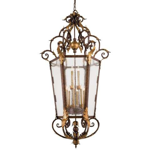 Metropolitan N3642-355 Foyer Pendant in Golden Bronze finish with Seeded Glass