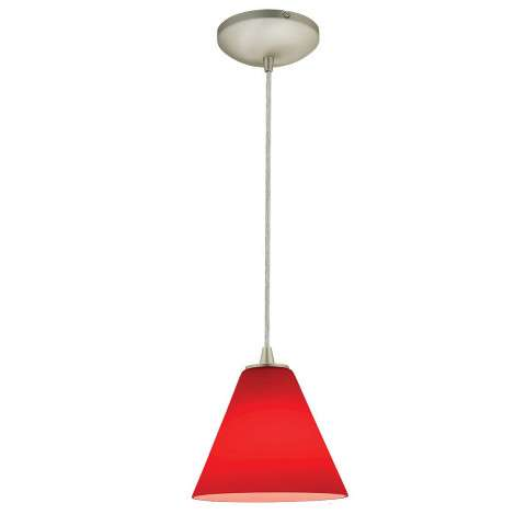 Access Lighting 28004-1C-BS/RED Sydney Inari SilkOriental Glass Pendantin Brushed Steel finish