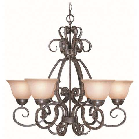 Craftmade Exteriors Sheridan - Forged Metal 6 Light Chandelier in Forged Metal