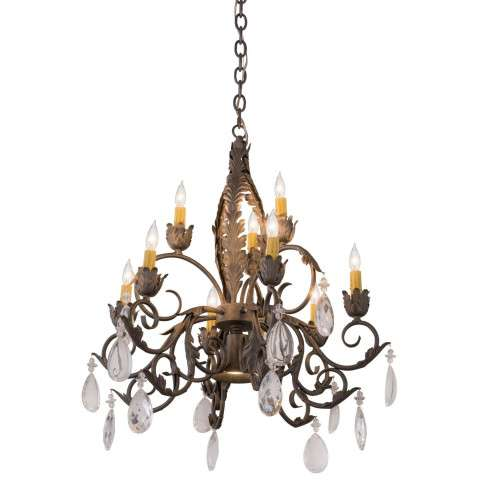 "26"" W New Country French 9 Lt Chandelier - Custom Crafted In Yorkville - New York Please Allow 30 Days"
