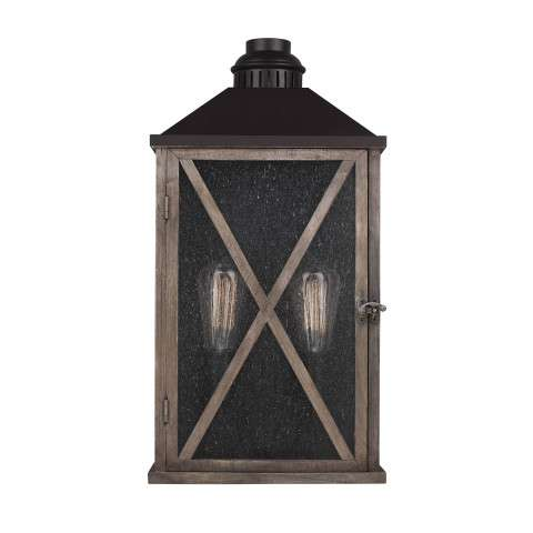 Lumiere´ 2 Bulb Dark Weathered Oak / Oil Rubbed Bronze Outdoor Lantern