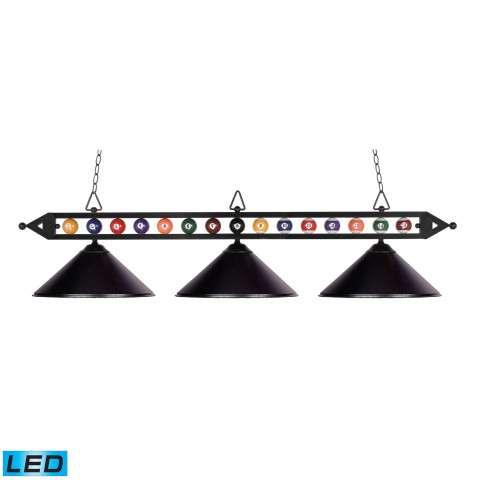 Designer Classics 3-Light Billiard/Island In Matte Black With Metal Shades - LED - 800 Lumens (24…