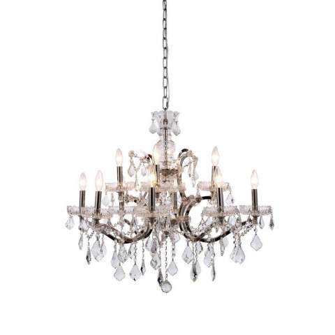 1138 Elena Collection Pendant Lamp D:26in H:25.5in Lt:12 Polished Nickel Finish Royal Cut Crystal (Clear)