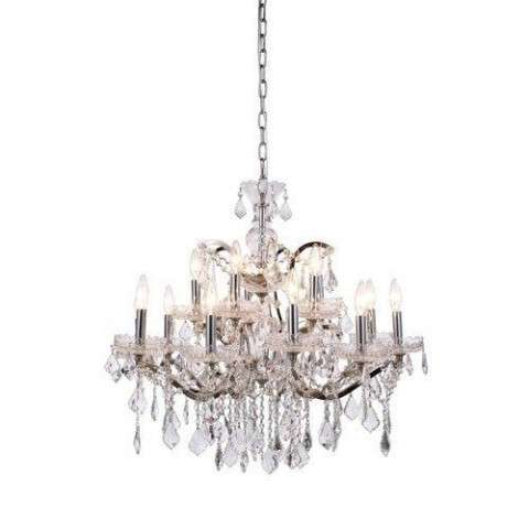 1138 Elena Collection Pendant Lamp D:30in H:28in Lt:15 Polished Nickel Finish Royal Cut Crystal (Clear)