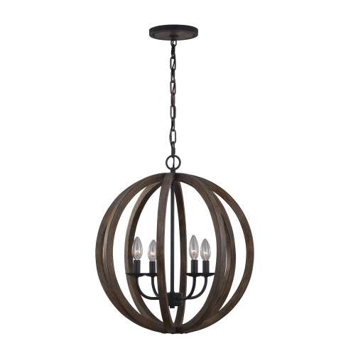 Allier 4 Bulb WEATHER OAK WOOD / ANTIQUE FORGED IRON Chandelier Large Pendant