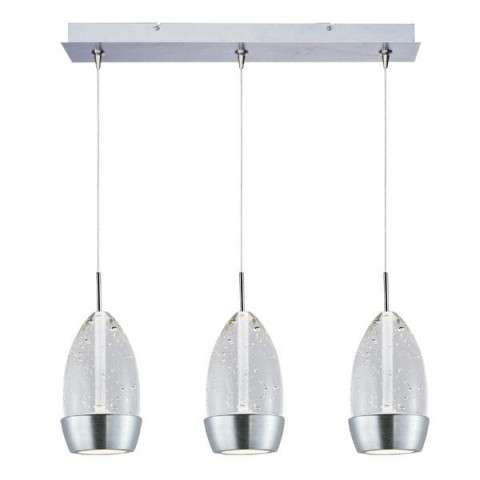 ET2 Contemporary Lighting E94852-91SN Luxe 3-light Linear Pendant in Satin Nickel finish with Bubble glass