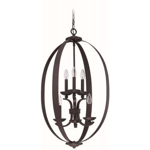 Jeremiah Indoor Lighting 6 Light Entry In Aged Bronze Bushed
