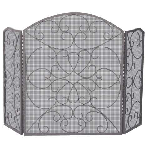 "3 Fold Bronze Screen With Ornate Design - 55"" Wide x 35"" Tall"