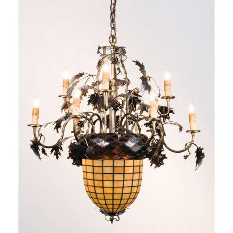 Meyda Tiffany 12753 Greenbriar Oak 9 Arm Chandelier in Antique Copper finish