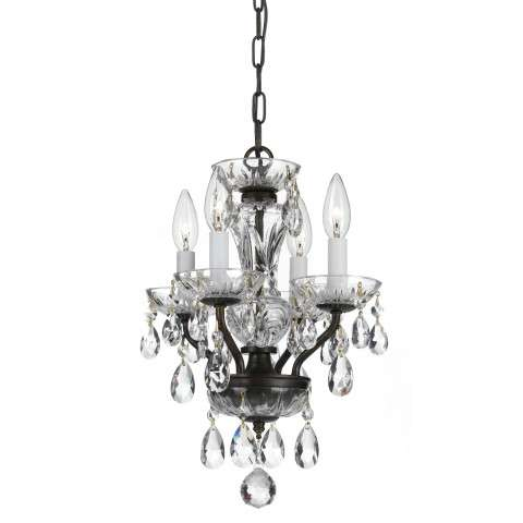 Traditional Crystal 4 Light Bronze Mini Chandelier