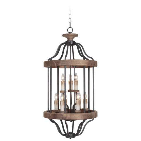 Jeremiah Indoor Lighting 9 Light Foyer In Texture Blk/Whiskey Barrel