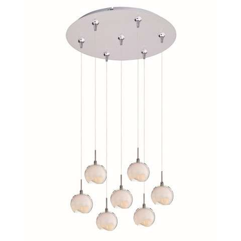 ET2 Contemporary Lighting E93706-10SN Minx 7-light Multi-Light Pendant in Satin Nickel finish with Clear/White glass