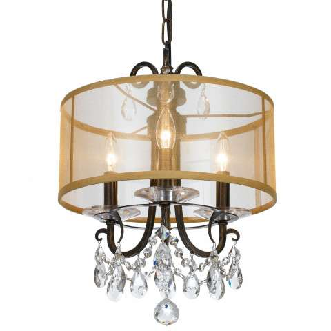 Crystorama Othello 3 Light Clear Crystal English Bronze Mini Chandelier