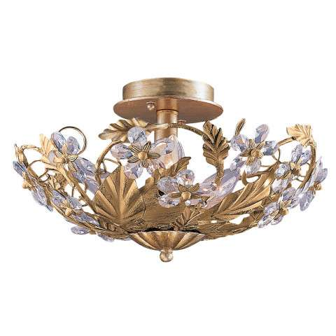 Crystorama 5316-GL Abbie Collection Hand Cut Crystal Semi Flush