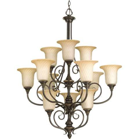 Kensington Forged Bronze 3-Lt. chandelier with Frosted caramel swirl glass trumpet shaped shades