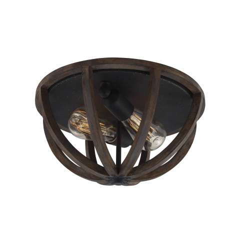 Allier 2 Bulb WEATHER OAK WOOD / ANTIQUE FORGED IRON Flushmount