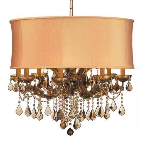 Crystorama 4489-AB-SHG-GTM Brentwood Chandelier Draped in Golden Teak Hand Cut Crystal Accented with a Harvest Gold Silk Shade