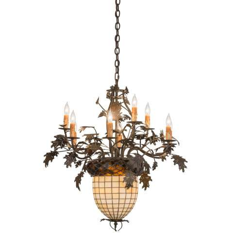 "28"" W Greenbriar Oak 9 Arm Chandelier. Custom Crafted In Yorkville - New York Please Allow 30 Days"