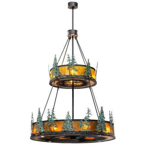 "Meyda 55"" Tall Pines Chandel-Air w/Up and Downlights in Iron w/Amber Mica and GreenTrees w/Oil Bronze Fan"